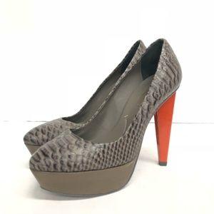 BCBGMaxAzria Women's Brown & Orange Heel Size 9